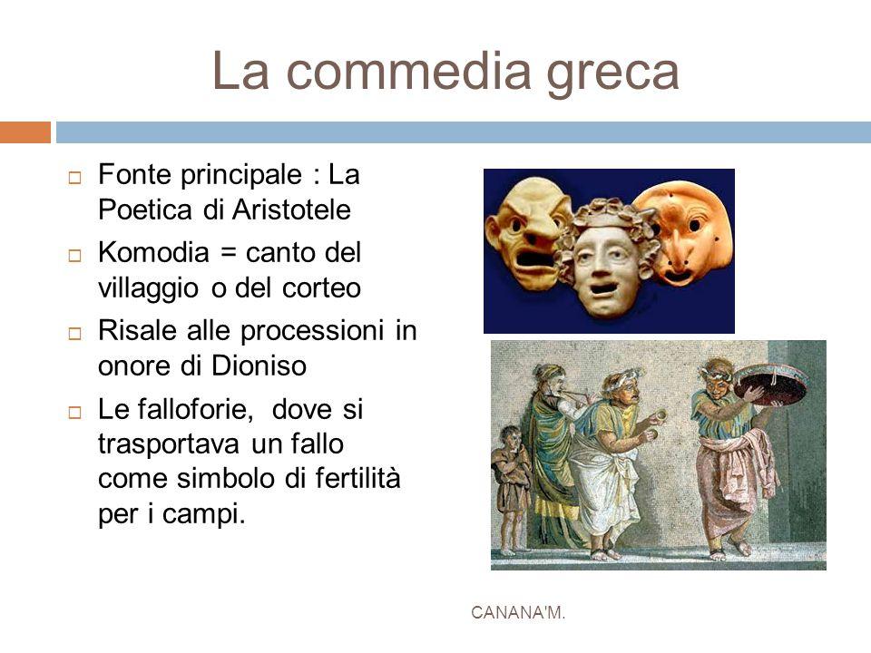 La commedia greca  Fonte principale : La Poetica di Aristotele  Komodia = canto del villaggio o del corteo  Risale alle processioni in onore di Dio