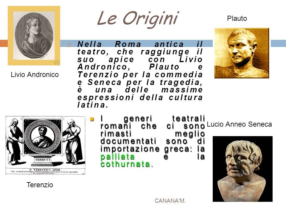 Le Origini CANANA'M.  Nella Roma antica il teatro, che raggiunge il suo apice con Livio Andronico, Plauto e Terenzio per la commedia e Seneca per la