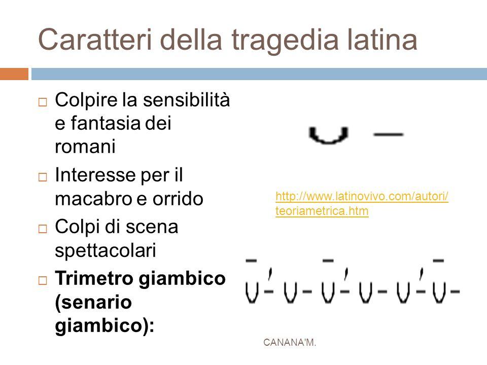 Caratteri della tragedia latina  Colpire la sensibilità e fantasia dei romani  Interesse per il macabro e orrido  Colpi di scena spettacolari  Tri