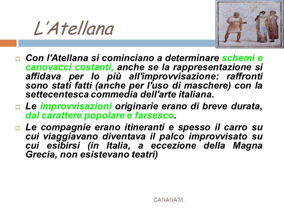 L'Atellana CANANA'M.  Con l'Atellana si cominciano a determinare schemi e canovacci costanti, anche se la rappresentazione si affidava per lo più all