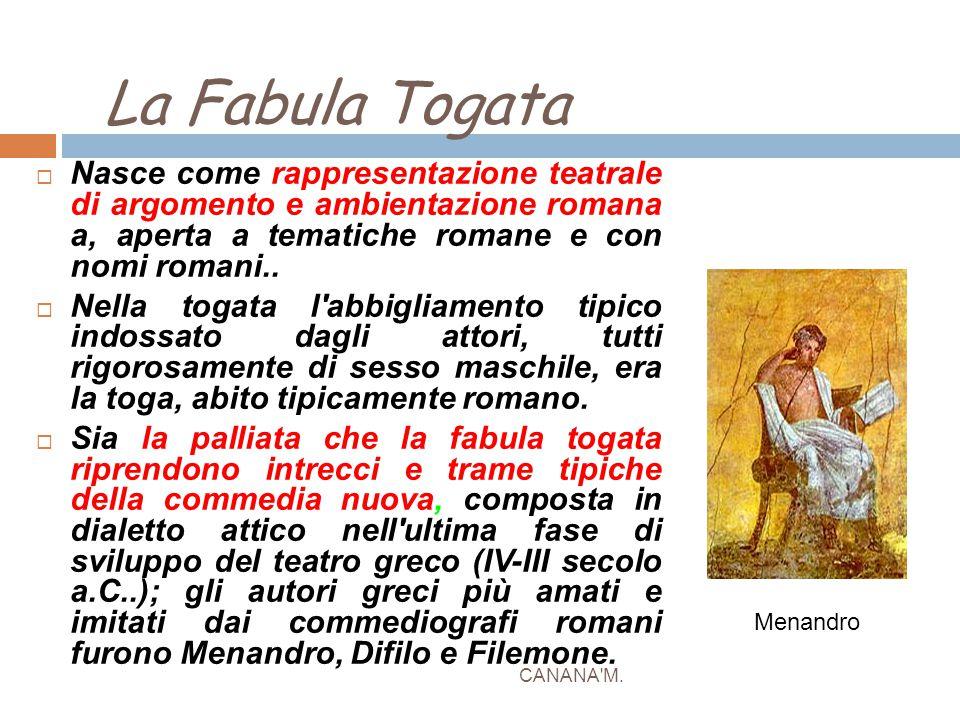 La Fabula Togata CANANA'M.  Nasce come rappresentazione teatrale di argomento e ambientazione romana a, aperta a tematiche romane e con nomi romani..