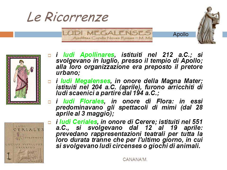 Le Ricorrenze CANANA'M.  i ludi Apollinares, istituiti nel 212 a.C.; si svolgevano in luglio, presso il tempio di Apollo; alla loro organizzazione er
