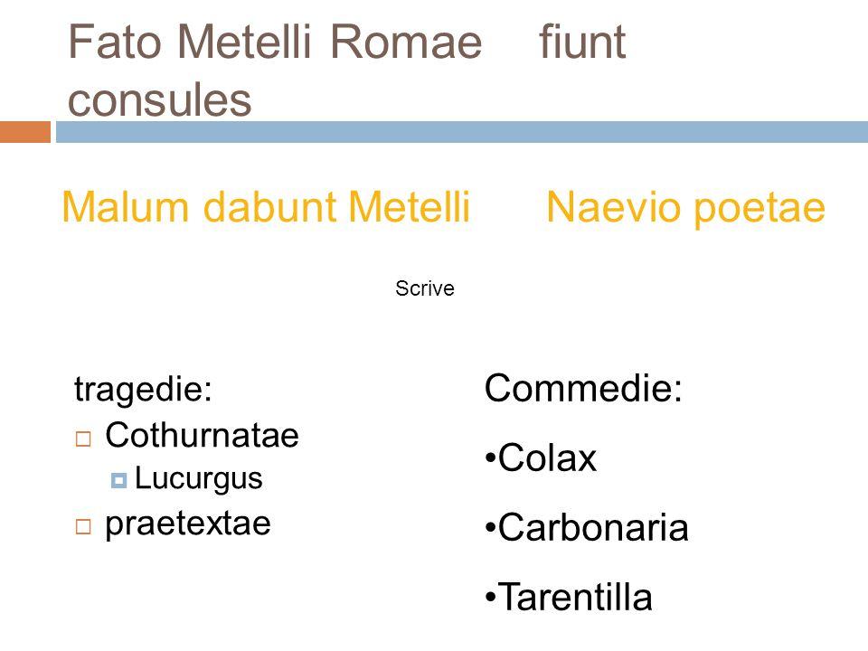 Fato Metelli Romae fiunt consules Malum dabunt Metelli Naevio poetae tragedie:  Cothurnatae  Lucurgus  praetextae Commedie: Colax Carbonaria Tarent