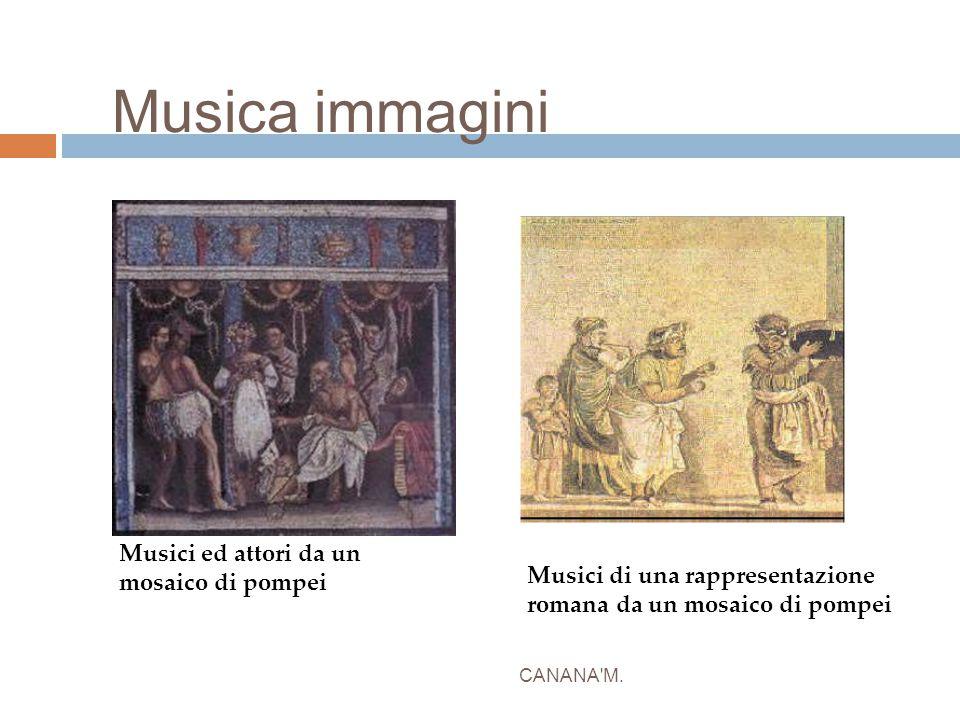 Musica immagini CANANA'M. Musici di una rappresentazione romana da un mosaico di pompei Musici ed attori da un mosaico di pompei