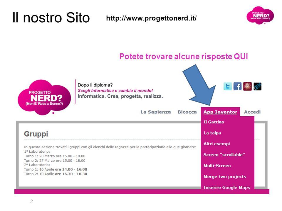2 Il nostro Sito http://www.progettonerd.it/ Potete trovare alcune risposte QUI