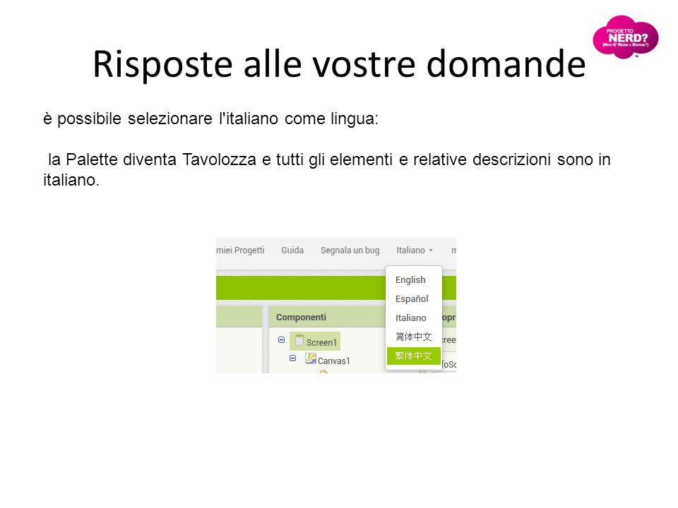 Risposte alle vostre domande è possibile selezionare l italiano come lingua: la Palette diventa Tavolozza e tutti gli elementi e relative descrizioni sono in italiano.