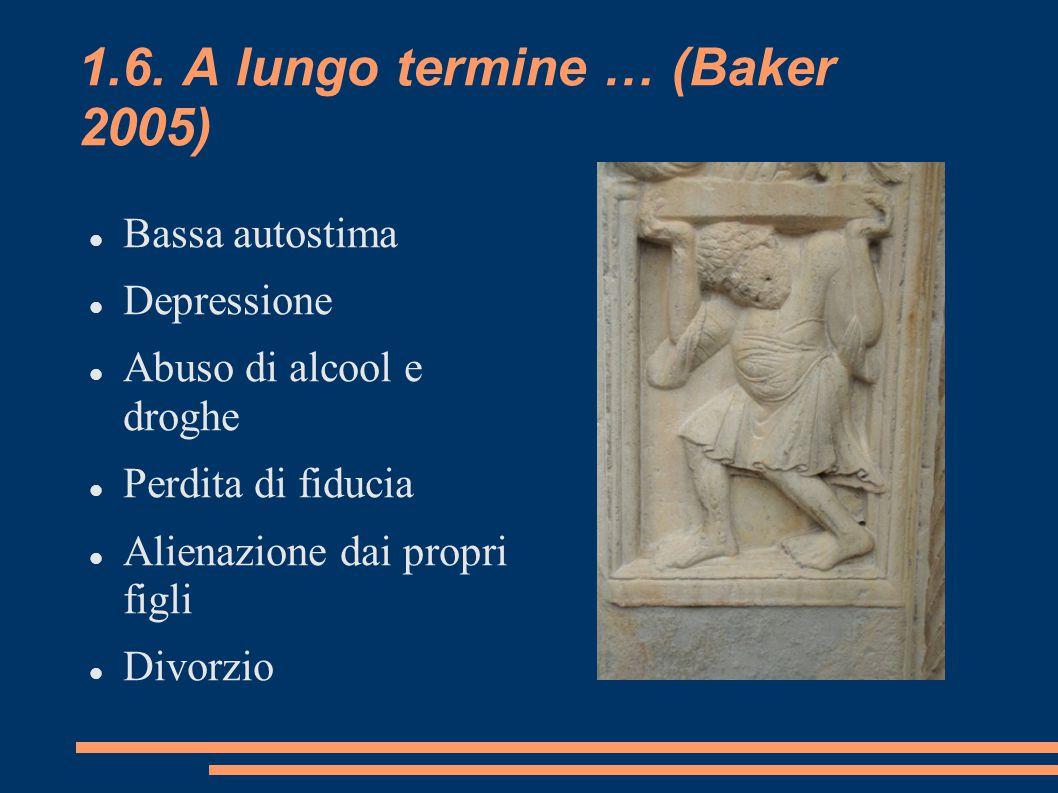1.6. A lungo termine … (Baker 2005) Bassa autostima Depressione Abuso di alcool e droghe Perdita di fiducia Alienazione dai propri figli Divorzio