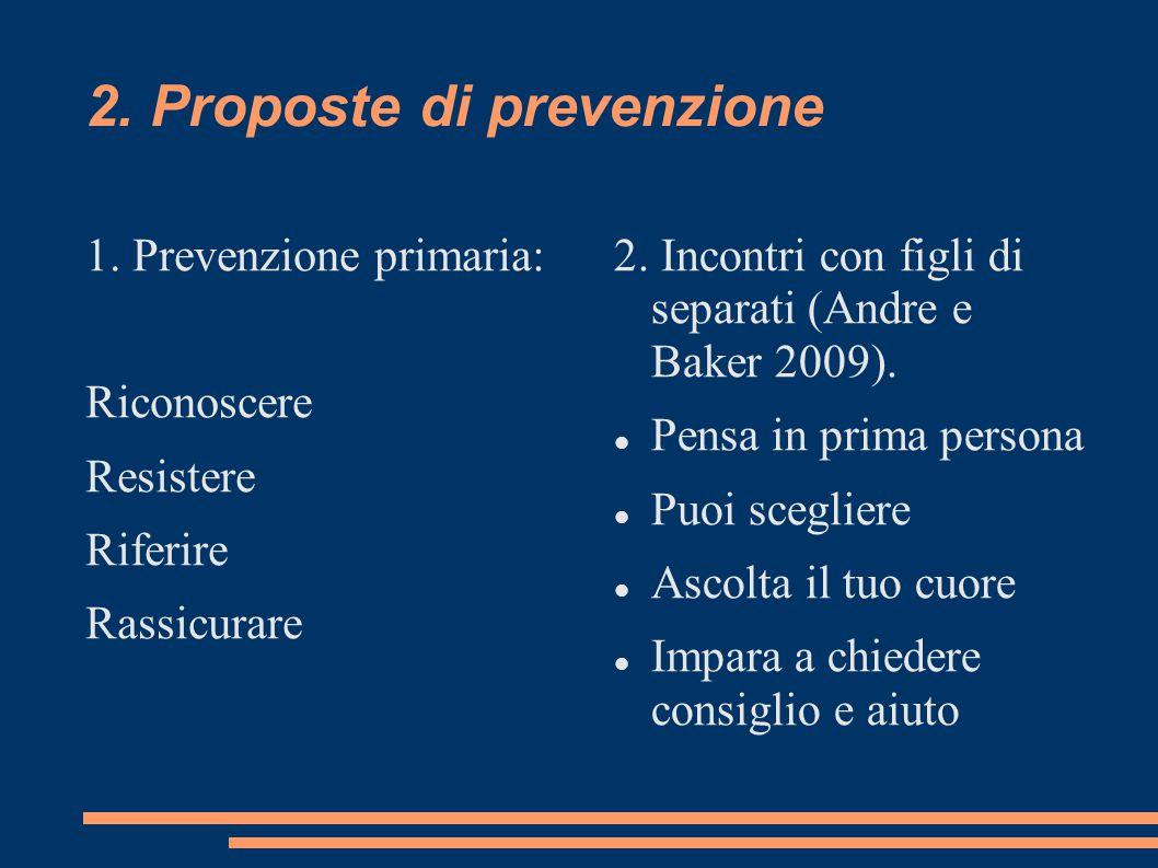 2.Proposte di prevenzione 1. Prevenzione primaria: Riconoscere Resistere Riferire Rassicurare 2.