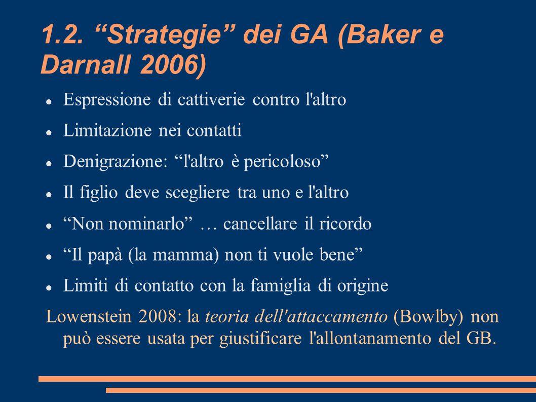 """1.2. """"Strategie"""" dei GA (Baker e Darnall 2006) Espressione di cattiverie contro l'altro Limitazione nei contatti Denigrazione: """"l'altro è pericoloso"""""""