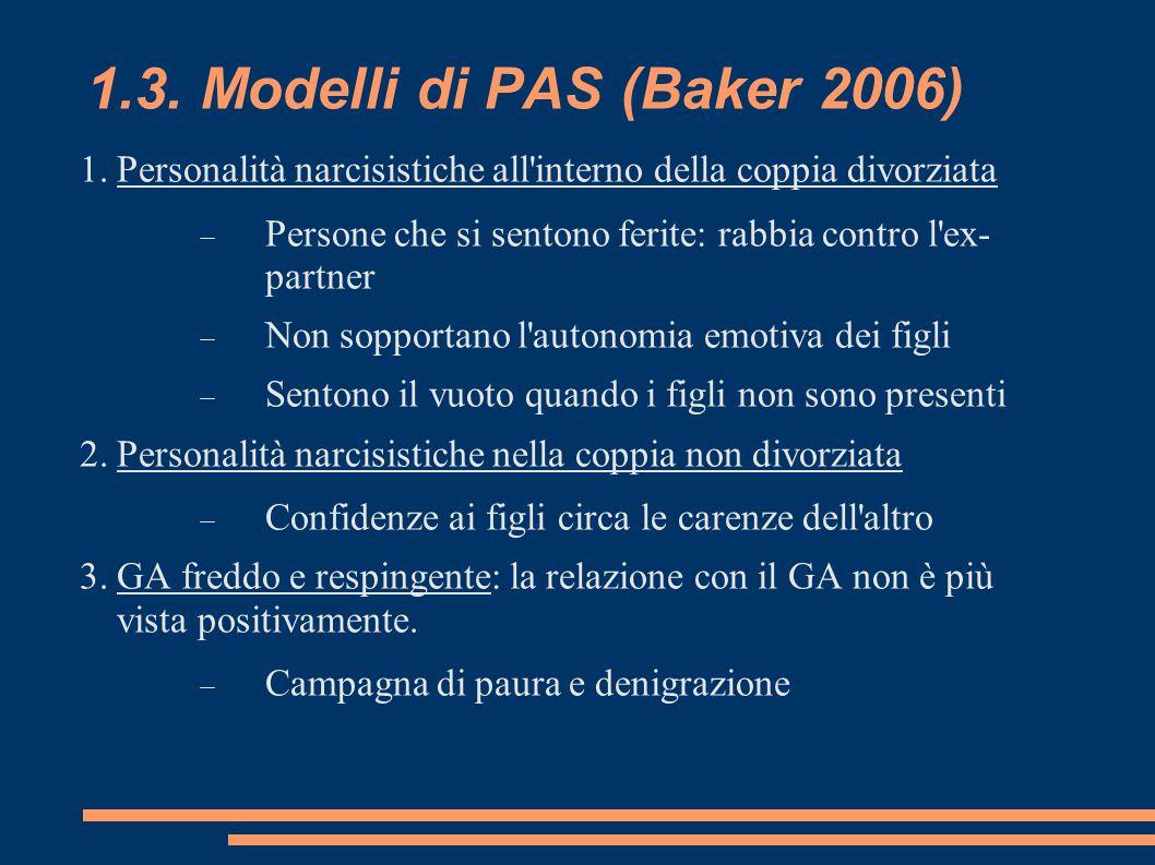 1.3. Modelli di PAS (Baker 2006) 1.Personalità narcisistiche all'interno della coppia divorziata  Persone che si sentono ferite: rabbia contro l'ex-