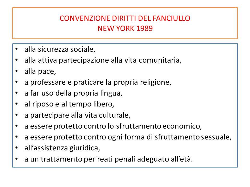 CONVENZIONE DIRITTI DEL FANCIULLO NEW YORK 1989 alla sicurezza sociale, alla attiva partecipazione alla vita comunitaria, alla pace, a professare e pr