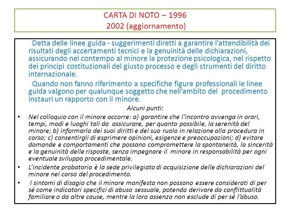 CARTA DI NOTO – 1996 2002 (aggiornamento) Detta delle linee guida - suggerimenti diretti a garantire l'attendibilità dei risultati degli accertamenti