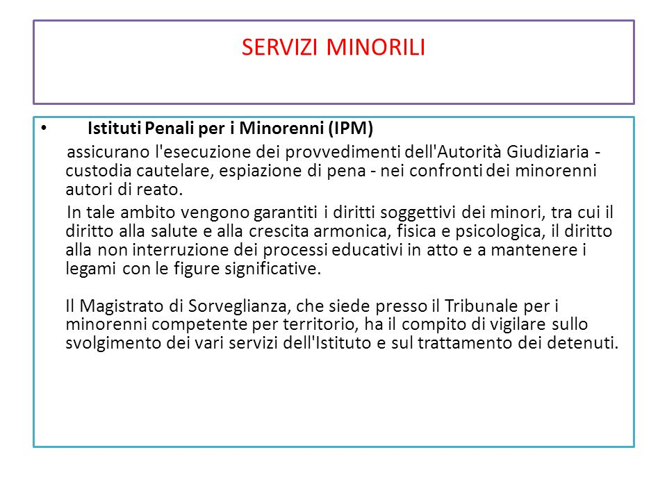 SERVIZI MINORILI Istituti Penali per i Minorenni (IPM) assicurano l'esecuzione dei provvedimenti dell'Autorità Giudiziaria - custodia cautelare, espia