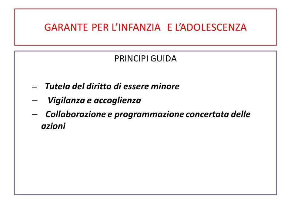 GARANTE PER L'INFANZIA E L'ADOLESCENZA PRINCIPI GUIDA – Tutela del diritto di essere minore – Vigilanza e accoglienza – Collaborazione e programmazion