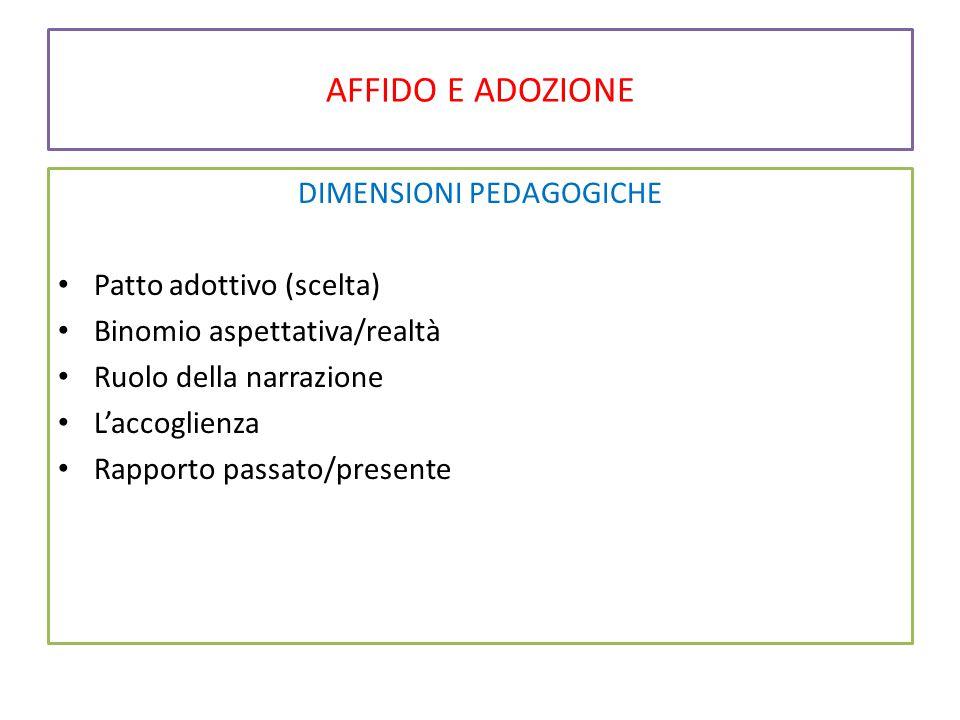 AFFIDO E ADOZIONE DIMENSIONI PEDAGOGICHE Patto adottivo (scelta) Binomio aspettativa/realtà Ruolo della narrazione L'accoglienza Rapporto passato/pres