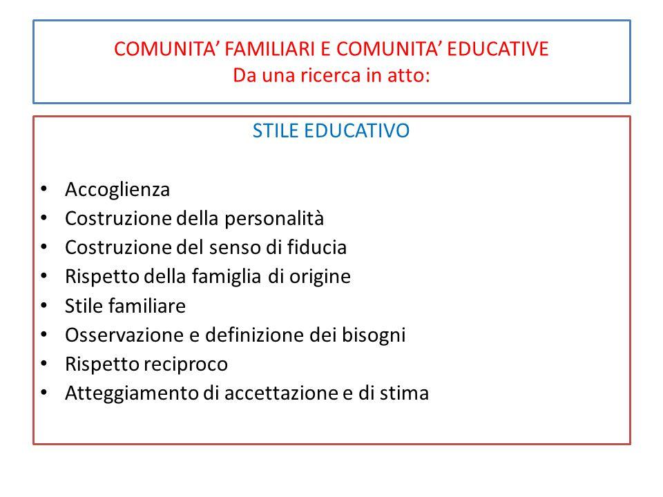 COMUNITA' FAMILIARI E COMUNITA' EDUCATIVE Da una ricerca in atto: STILE EDUCATIVO Accoglienza Costruzione della personalità Costruzione del senso di f