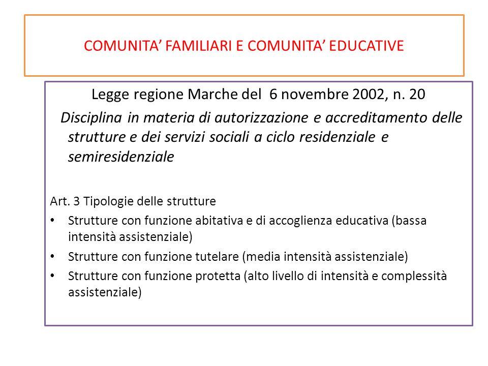 COMUNITA' FAMILIARI E COMUNITA' EDUCATIVE Legge regione Marche del 6 novembre 2002, n. 20 Disciplina in materia di autorizzazione e accreditamento del