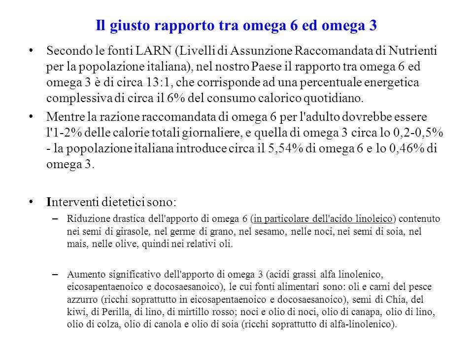 Il giusto rapporto tra omega 6 ed omega 3 Secondo le fonti LARN (Livelli di Assunzione Raccomandata di Nutrienti per la popolazione italiana), nel nos