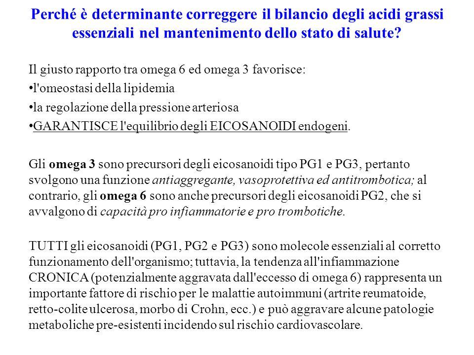 Perché è determinante correggere il bilancio degli acidi grassi essenziali nel mantenimento dello stato di salute? Il giusto rapporto tra omega 6 ed o