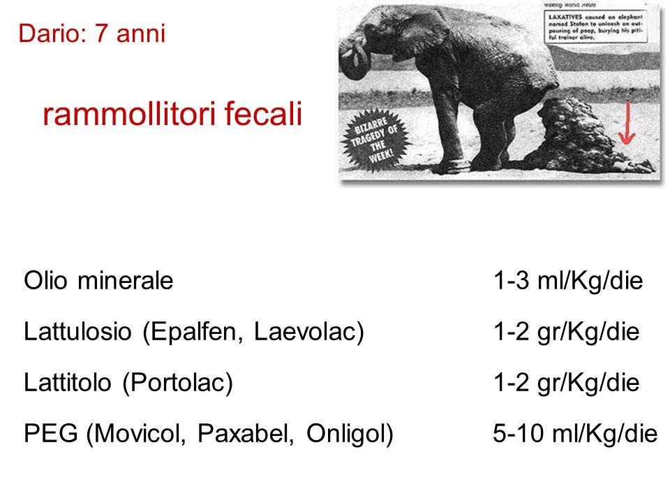 Dario: 7 anni terapia 2 rammollitori fecali Olio minerale1-3 ml/Kg/die Lattulosio (Epalfen, Laevolac) 1-2 gr/Kg/die Lattitolo (Portolac) 1-2 gr/Kg/die