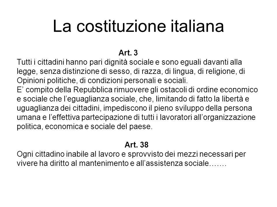 La costituzione italiana Art. 3 Tutti i cittadini hanno pari dignità sociale e sono eguali davanti alla legge, senza distinzione di sesso, di razza, d