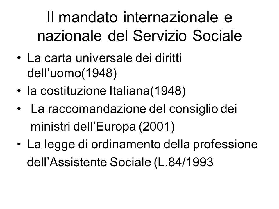 Il mandato internazionale e nazionale del Servizio Sociale La carta universale dei diritti dell'uomo(1948) la costituzione Italiana(1948) La raccomand
