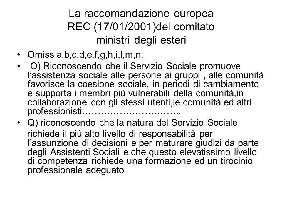 La raccomandazione europea REC (17/01/2001)del comitato ministri degli esteri Omiss a,b,c,d,e,f,g,h,i,l,m,n, O) Riconoscendo che il Servizio Sociale p