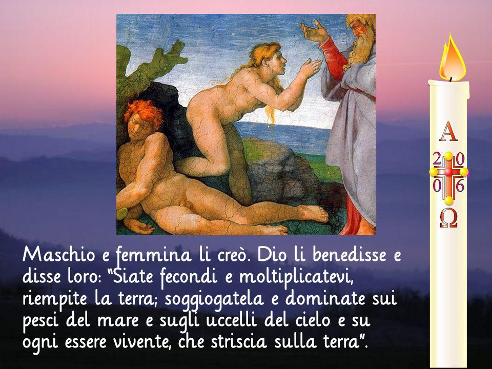 """Maschio e femmina li creò. Dio li benedisse e disse loro: """"Siate fecondi e moltiplicatevi, riempite la terra; soggiogatela e dominate sui pesci del ma"""