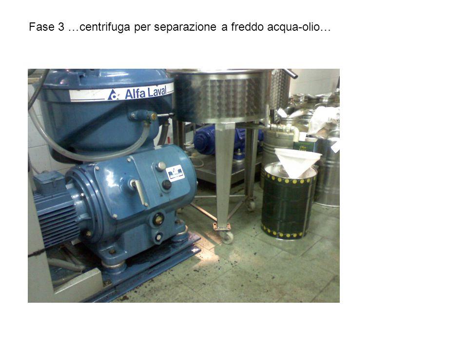 Fase 3 …centrifuga per separazione a freddo acqua-olio…