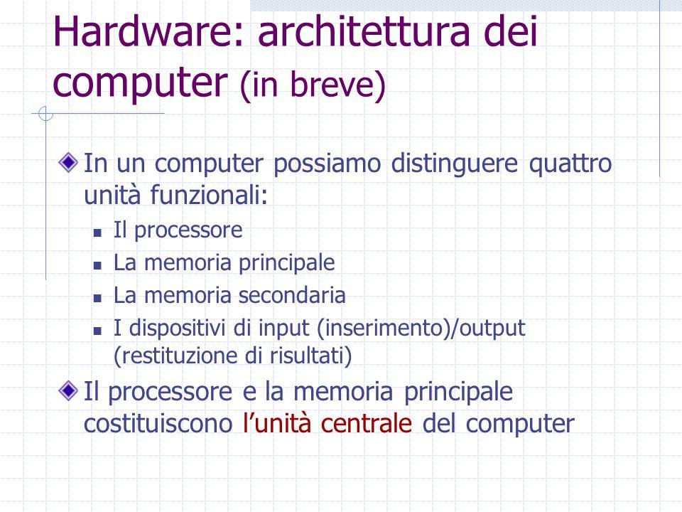 Hardware: architettura dei computer (in breve) In un computer possiamo distinguere quattro unità funzionali: Il processore La memoria principale La memoria secondaria I dispositivi di input (inserimento)/output (restituzione di risultati) Il processore e la memoria principale costituiscono l'unità centrale del computer