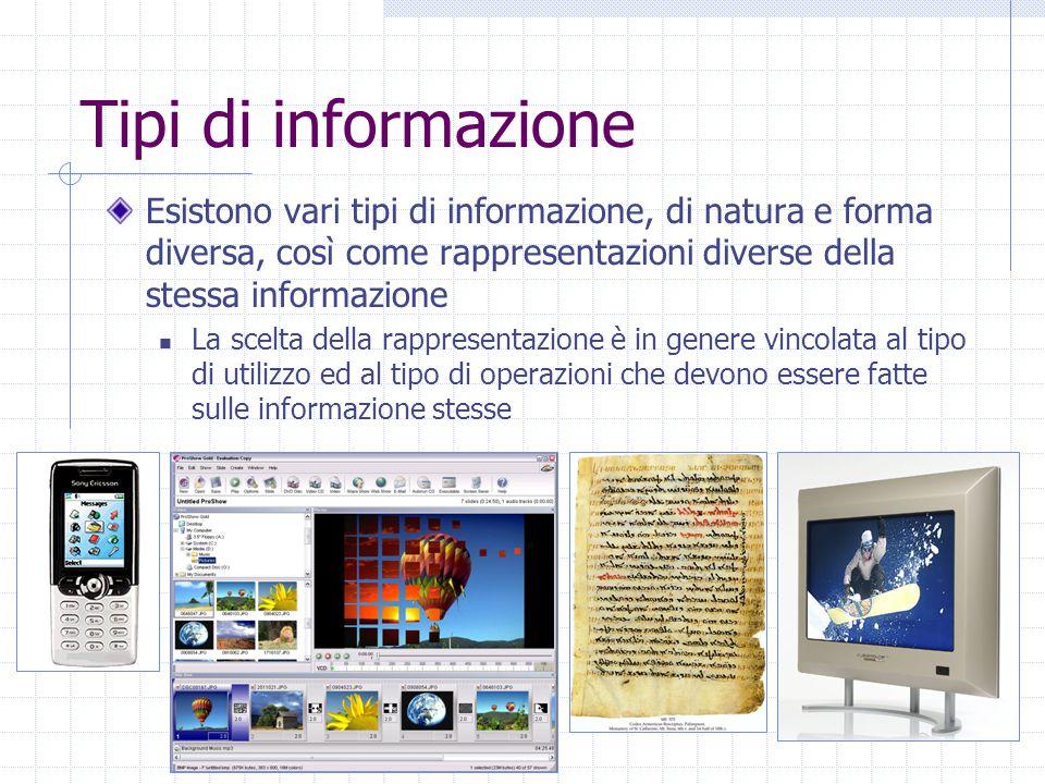 Tipi di informazione Esistono vari tipi di informazione, di natura e forma diversa, così come rappresentazioni diverse della stessa informazione La scelta della rappresentazione è in genere vincolata al tipo di utilizzo ed al tipo di operazioni che devono essere fatte sulle informazione stesse