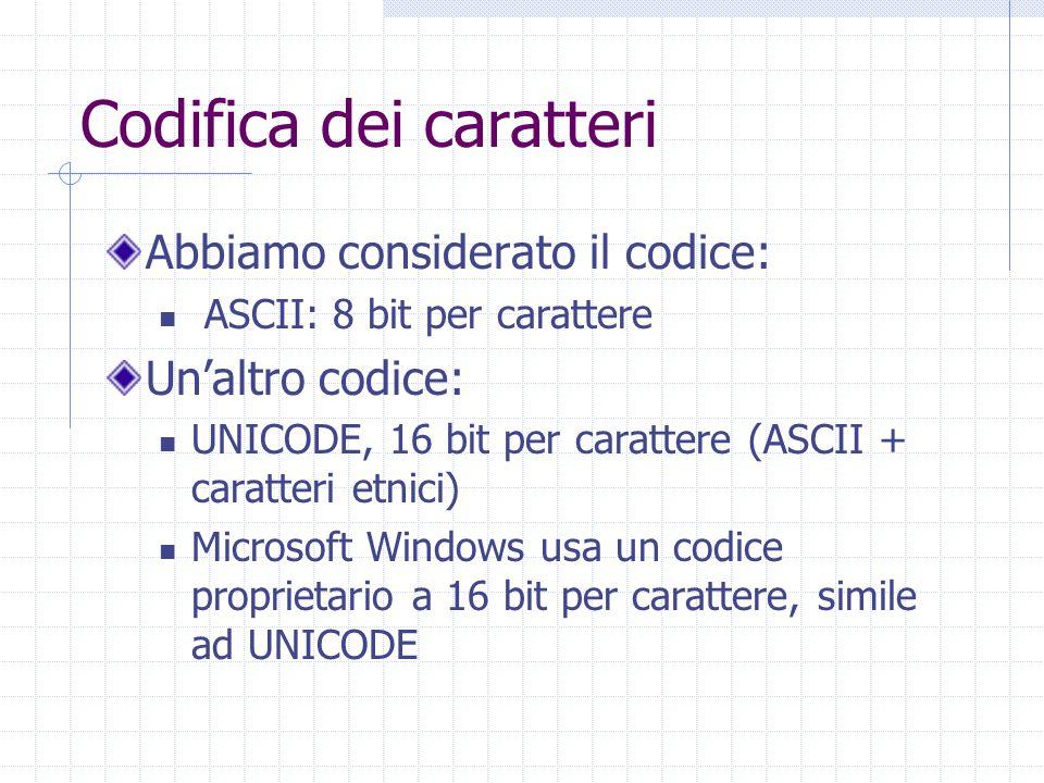 Codifica dei caratteri Abbiamo considerato il codice: ASCII: 8 bit per carattere Un'altro codice: UNICODE, 16 bit per carattere (ASCII + caratteri etnici) Microsoft Windows usa un codice proprietario a 16 bit per carattere, simile ad UNICODE