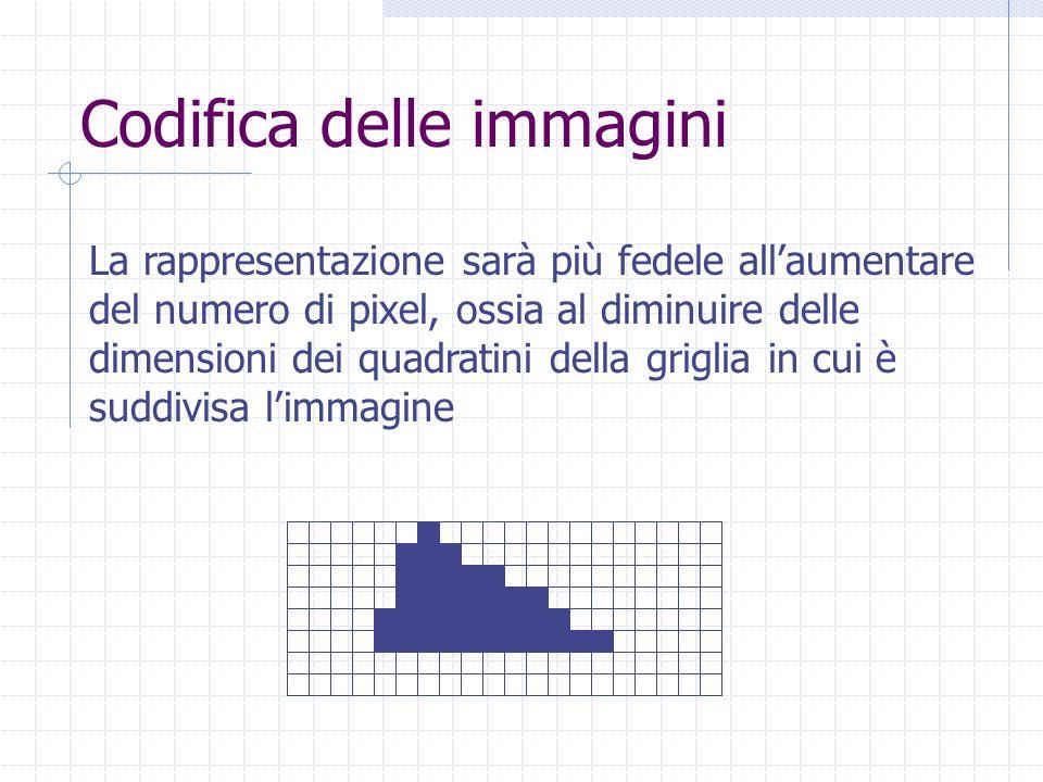 Codifica delle immagini La rappresentazione sarà più fedele all'aumentare del numero di pixel, ossia al diminuire delle dimensioni dei quadratini della griglia in cui è suddivisa l'immagine
