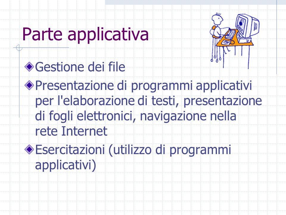 Parte applicativa Gestione dei file Presentazione di programmi applicativi per l elaborazione di testi, presentazione di fogli elettronici, navigazione nella rete Internet Esercitazioni (utilizzo di programmi applicativi)
