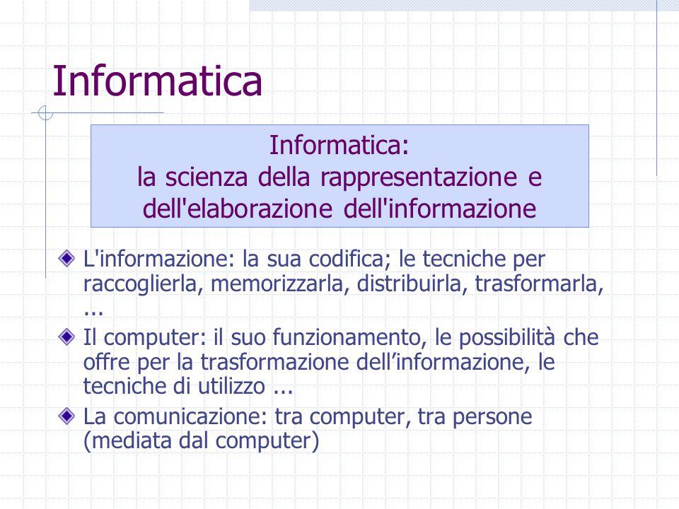 Informatica L informazione: la sua codifica; le tecniche per raccoglierla, memorizzarla, distribuirla, trasformarla,...
