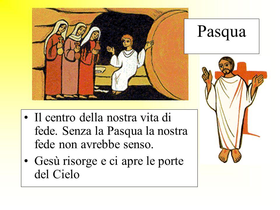 Pasqua Il centro della nostra vita di fede. Senza la Pasqua la nostra fede non avrebbe senso. Gesù risorge e ci apre le porte del Cielo