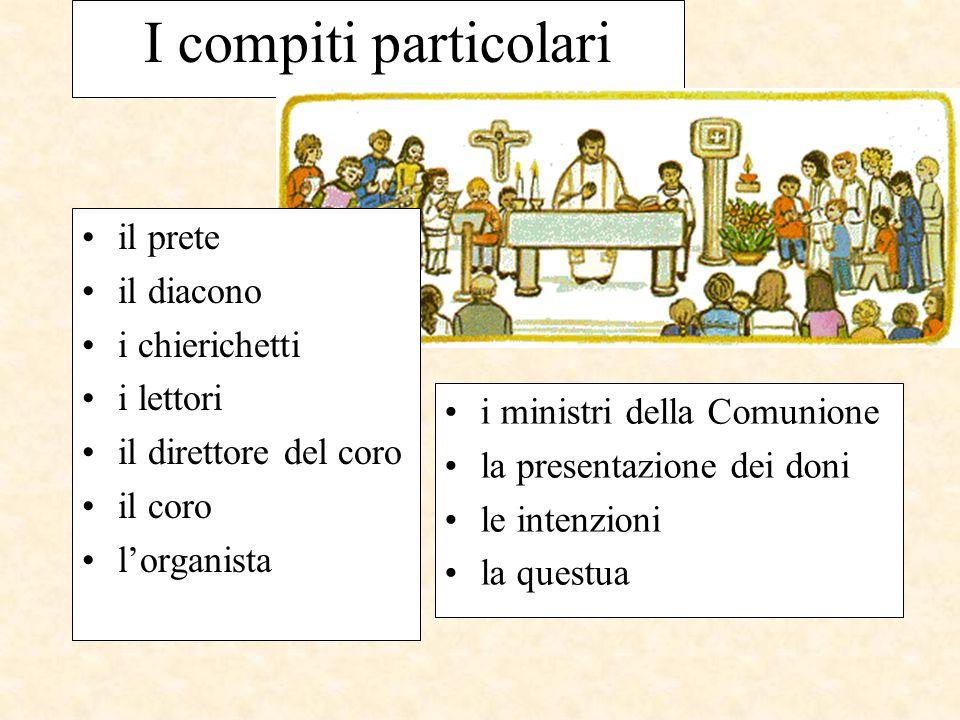 I compiti particolari i ministri della Comunione la presentazione dei doni le intenzioni la questua il prete il diacono i chierichetti i lettori il di