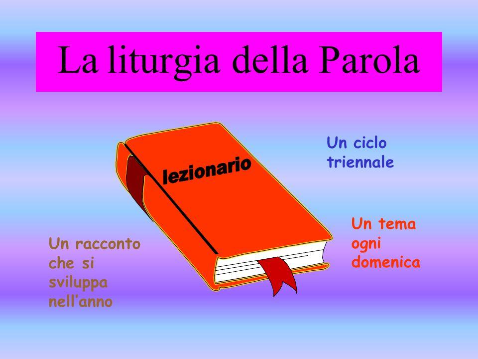 La liturgia della Parola Un ciclo triennale Un racconto che si sviluppa nell'anno Un tema ogni domenica