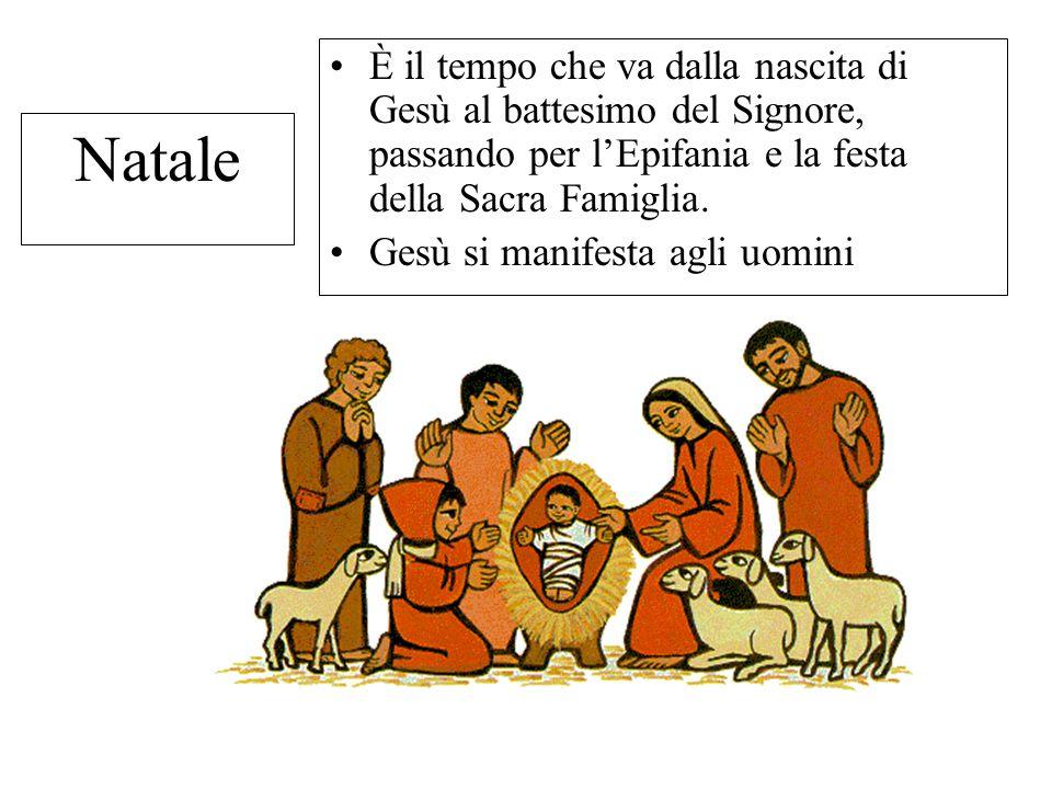 Natale È il tempo che va dalla nascita di Gesù al battesimo del Signore, passando per l'Epifania e la festa della Sacra Famiglia. Gesù si manifesta ag
