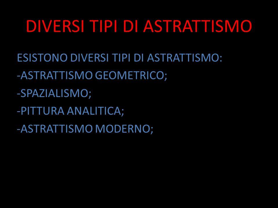 DIVERSI TIPI DI ASTRATTISMO ESISTONO DIVERSI TIPI DI ASTRATTISMO: -ASTRATTISMO GEOMETRICO; -SPAZIALISMO; -PITTURA ANALITICA; -ASTRATTISMO MODERNO;