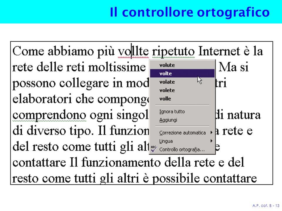 A.P. cat. B - 13 Il controllore ortografico