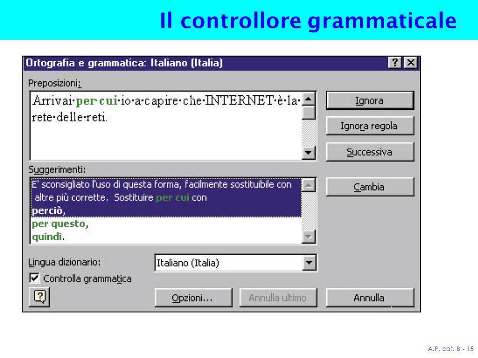 A.P. cat. B - 15 Il controllore grammaticale