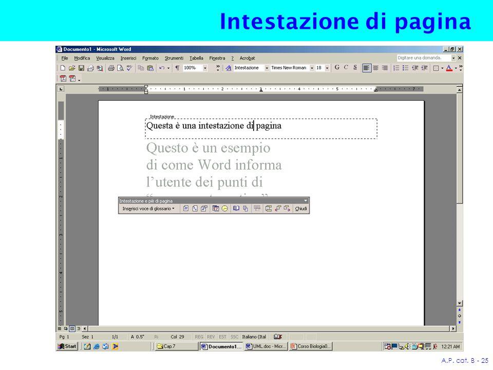 A.P. cat. B - 25 Intestazione di pagina