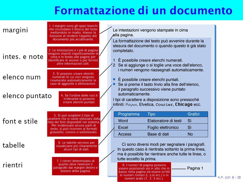 A.P. cat. B - 28 Formattazione di un documento margini intes.
