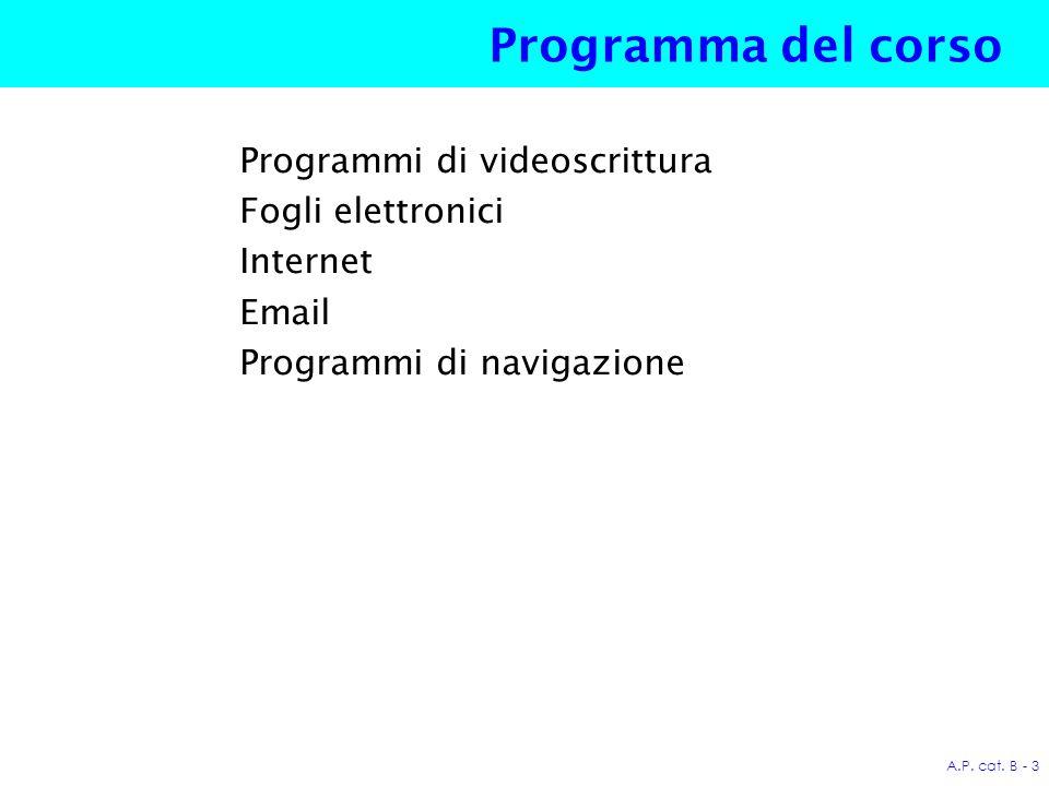 A.P.cat. B - 74 Navigare in Internet È il processo di visita di pagine web.