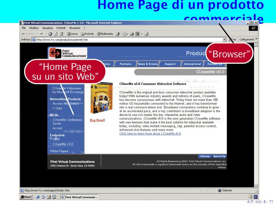 A.P. cat. B - 71 Home Page di un prodotto commerciale