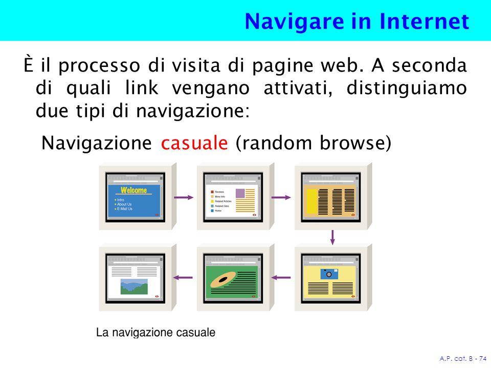 A.P. cat. B - 74 Navigare in Internet È il processo di visita di pagine web.