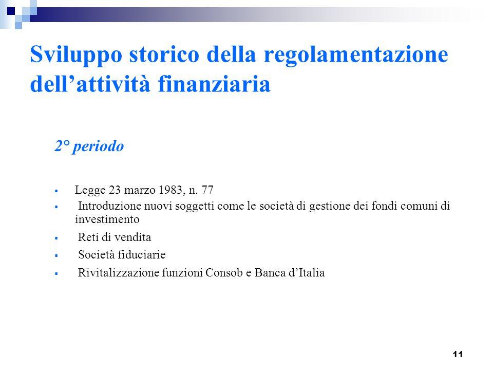 11 2° periodo  Legge 23 marzo 1983, n. 77  Introduzione nuovi soggetti come le società di gestione dei fondi comuni di investimento  Reti di vendit