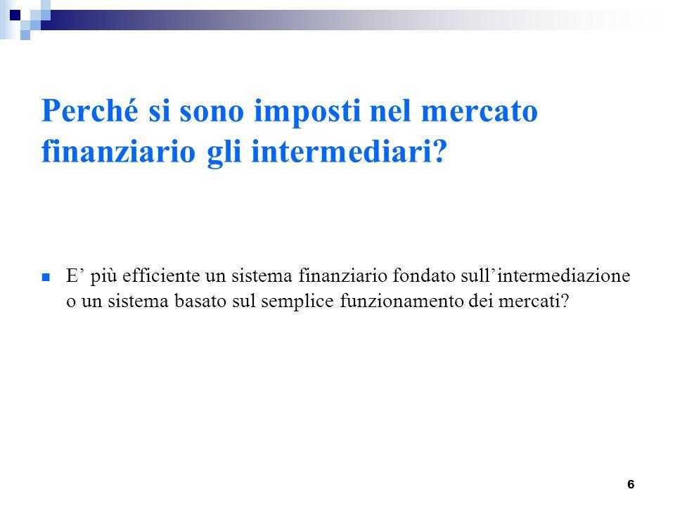 6 Perché si sono imposti nel mercato finanziario gli intermediari? E' più efficiente un sistema finanziario fondato sull'intermediazione o un sistema