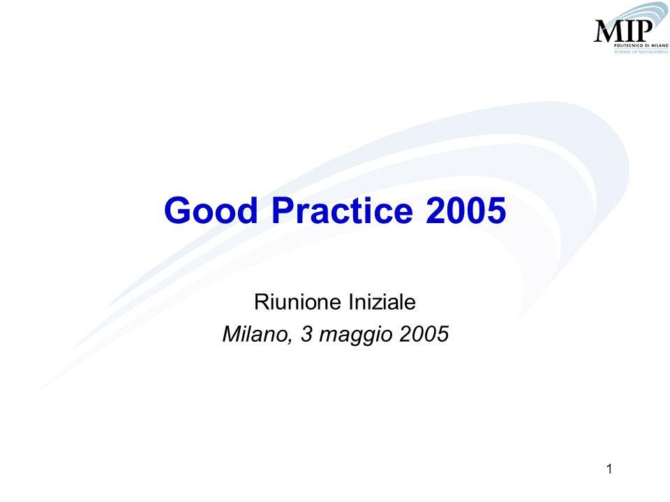 1 Good Practice 2005 Riunione Iniziale Milano, 3 maggio 2005